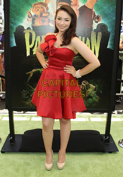 "Jodelle Ferland.""ParaNorman"" Los Angeles Premiere held at AMC CityWalk Stadium 19 Theatre, Universal City, California, USA..August 5th, 2012.full length red dress corsage one shoulder hands on hips.CAP/ADM/RE.©Russ Elliot/AdMedia/Capital Pictures."