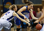 SIOUX FALLS MARCH 23:  Megan Lewis #14 of Bentley tries to dribble past Lubbock Christian defender Nicole Hampton #2 during their 2016 NCAA Women's DII Elite 8 Basketball Championship semifinal game Wednesday night at the Sanford Pentagon in Sioux Falls, S.D. (Photo by Dick Carlson/Inertia)