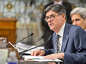 """United States Secretary of the Treasury Jacob Lew gives testimony before the US Senate Committee on Armed Services concerning """"Impacts of the Joint Comprehensive Plan of Action (JCPOA) on U.S. Interests and the Military Balance in the Middle East"""" on Capitol Hill on Wednesday, July 29, 2015.<br /> Credit: Ron Sachs / CNP"""