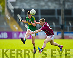 Kerry's Sean O'Shea and Galway's Dylan McHugh in action during the Kerry V Galway Under 21 Football Championship semi final at Cusack Park, Ennis on Sunday. Photograph by Eamon Ward