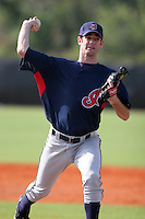 Cleveland Indians minor leaguer Jim Deters during Spring Training at the Chain of Lakes Complex on March 16, 2007 in Winter Haven, Florida.  (Mike Janes/Four Seam Images)