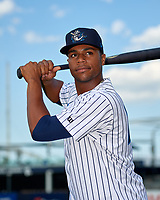 Tampa Tarpons Isiah Gilliam (24) poses for a photo before a Florida State League game against the Daytona Tortugas on May 17, 2019 at George M. Steinbrenner Field in Tampa, Florida.  Daytona defeated Tampa 8-6.  (Mike Janes/Four Seam Images)