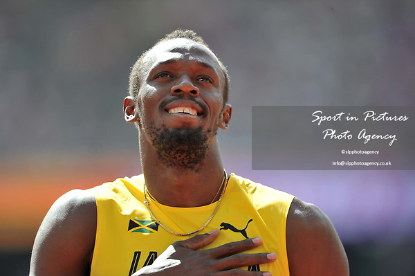 Usain Bolt (JAM) in the mens 4 x 100m relay. IAAF world athletics championships. London Olympic stadium. Queen Elizabeth Olympic park. Stratford. London. UK. 12/08/2017. ~ MANDATORY CREDIT Garry Bowden/SIPPA - NO UNAUTHORISED USE - +44 7837 394578