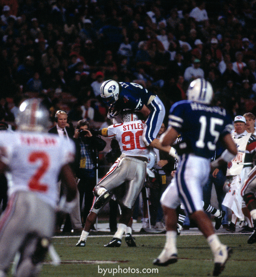 FTB 9312-55 Holiday Bowl.tif<br /> <br /> (FTB) Football vs Ohio State at the Holiday Bowl<br /> 96 Chad Lewis<br /> <br /> December 30, 1993<br /> <br /> Photography by Mark A. Philbrick/BYU<br /> <br /> Copyright BYU Photo 2011<br /> All Rights Reserved<br /> photo@byu.edu  (801)422-7322