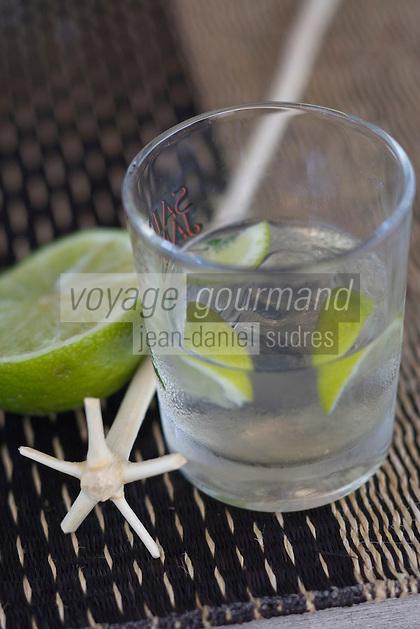 France/DOM/Martinique/Le François: Hôtel Cap Est Lagoon Resort & Spa service du ti-punch au Cohi Bar rhum blanc AOC - citron vert agité avec le lélé batonnet provenat d'un arbre a fourche