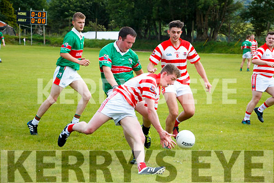 Christopher Creedon Kilgarvan in action against Brendan O'Shea Tuosist in Co League Div 5 at Kilgarvan on Sunday.