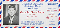 Pictured: A ticket for the birthday gala for JF Kennedy<br />