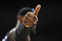 Lebron James of the Heat give a thumbs up to a fan. Miami defeated Washington 106-89 at the Verizon Center in Washington, D.C. on Friday, February 10, 2012. Alan P. Santos/DC Sports Box