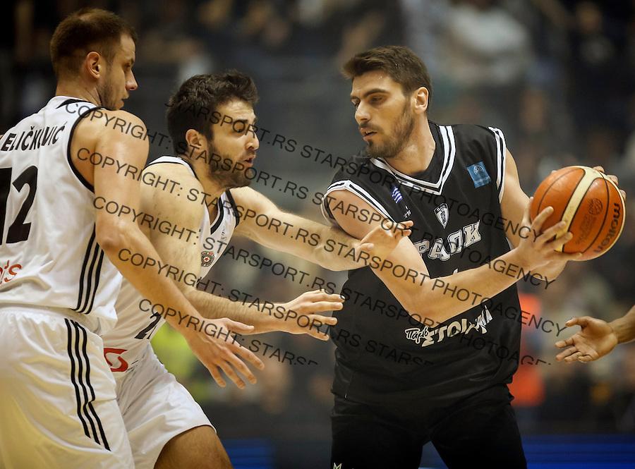 Kosarka FIBA Champions League season 2016-2017<br /> Partizan v PAOK<br /> Vaggelis Margaritis (R) Mihajilo Andric and Novica Velickovic (L)<br /> Beograd, 08.01.2016.<br /> foto: Srdjan Stevanovic/Starsportphoto &copy;