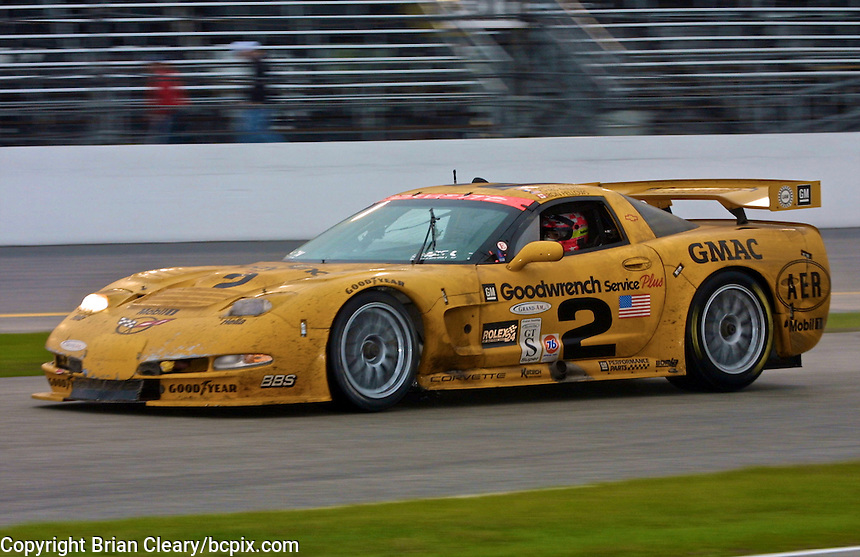 The #2 Chevrolet Corvette C5-R of Ron Fellows, Johnny O'Connell, Franck Freon, and Chris Kneifel rades to victory in the Rolex 24 at Daytona, Daytona INternational Speedway, Daytona Beach, FL, February 4, 2001.  (Photo by Brian Cleary/www.bcpix.com)