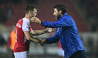 Rotherham United's Lee Frecklington, left, shakes hands with Lincoln City manager Danny Cowley at the end of the game<br /> <br /> Photographer Chris Vaughan/CameraSport<br /> <br /> The Carabao Cup First Round - Rotherham United v Lincoln City - Tuesday 8th August 2017 - New York Stadium - Rotherham<br />  <br /> World Copyright &copy; 2017 CameraSport. All rights reserved. 43 Linden Ave. Countesthorpe. Leicester. England. LE8 5PG - Tel: +44 (0) 116 277 4147 - admin@camerasport.com - www.camerasport.com