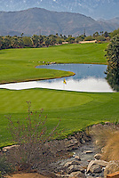 Morning Golf course, stream, green, yellow flag, lush landscape  California, CA, USA, rolling fairways, beautiful greens, natural settings