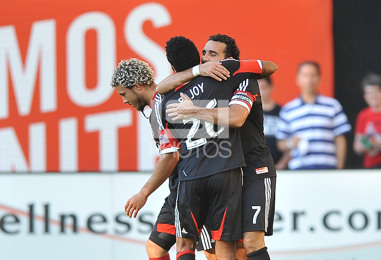 Dwayne De Rosario (22) of D.C. United celebrates his score with teammate Lionard Pajoy in the 19th minute of the game.  FC. Toronto FC defeated D.C. United 2-1, at RFK Stadium, Saturday June 15 , 2013.