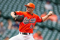 Sam Houston State Bearkats pitcher Andrew Godail #14 delivers a pitch to the plate during the NCAA baseball game against the Texas Tech Red Raiders on March 1, 2014 during the Houston College Classic at Minute Maid Park in Houston, Texas. The Bearkats defeated the Red Raiders 10-6. (Andrew Woolley/Four Seam Images)