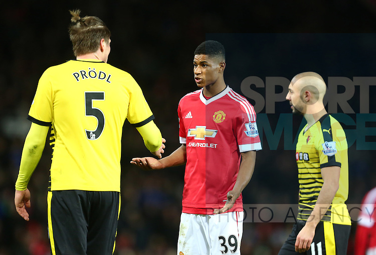 Marcus Rashford of Manchester United has a disagreement with Sebastian Prodl of Watford - Barclay's Premier League - Manchester United vs Watford - Old Trafford - Manchester - 02/03/2016 Pic Philip Oldham/SportImage