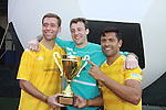 "Winning team of 44 teams - Grassrootsoccer with teammates All My Children's Mark Consuelos, Soccer player Jimmy Conrad (L) and goalie Brian Bush participate at the ""Kicking It"" at Annual Tribeca/NYFEST Soccer Day Celebrity Exhibition - a part of the 11th edition of the Tribeca Film Festival on April 21, 2012 at Pier 40, New York City, New York.  Grassrootsoccer was cofounded by Survivor Africa winner Ethan Zohn. (Photo by Sue Coflin/Max Photos)"
