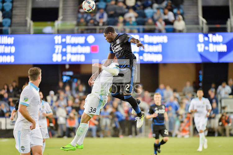 San Jose, CA - Wednesday June 28, 2017: Irvin Parra, Kofi Sarkodie during a U.S. Open Cup Round of 16 match between the San Jose Earthquakes and the Seattle Sounders FC at Avaya Stadium.
