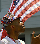 A member of the Kings Fire Church contingent seen in the Independence Day Parade in Village of Saugerties, NY, on Tuesday, July 4, 2017. Photo by Jim Peppler. Copyright/Jim Peppler-2017.
