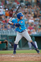Amarillo Sod Poodles Luis Torrens (21) bats during a Texas League game against the Frisco RoughRiders on July 12, 2019 at Dr Pepper Ballpark in Frisco, Texas.  (Mike Augustin/Four Seam Images)