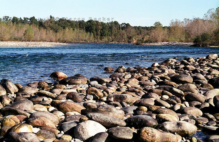 Parco del Ticino presso Vizzola Ticino (Varese). Sassi sulla riva del fiume --- Park of Ticino near Vizzola Ticino (Varese). Stones on the river bank