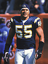 San Diego Charger, Junior Seau (55)  during a game against the Cleveland Browns on October 7, 2001 at Cleveland Browns Stadium in Cleveland, Ohio Junior Seau  player for 20  years with 3 different teams, was a 12-time Pro Bowler and was inducted to the Pro Football Hall of Fame in 2015.