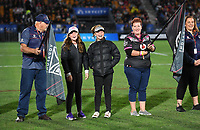 Members and fans form a guard of honour.<br /> NRL Premiership rugby league. Vodafone Warriors v St George Illawarra. Mt Smart Stadium, Auckland, New Zealand. Friday 20 April 2018. &copy; Copyright photo: Andrew Cornaga / www.Photosport.nz