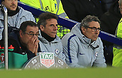 17th March 2019, Goodison Park, Liverpool, England; EPL Premier League Football, Everton versus Chelsea; Chelsea manager Maurizio Sarri reacts as his team trail 2-0 late in the game