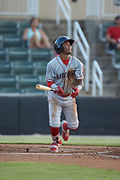 Luis Garcia (3) of the Lakewood BlueClaws follows through on his swing against the Kannapolis Intimidators at Kannapolis Intimidators Stadium on July 18, 2019 in Kannapolis, North Carolina. The Intimidators defeated the BlueClaws 7-1. (Brian Westerholt/Four Seam Images)