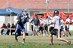Beverly Hills, CA 04/12/10 - Luke Mullan (Loyola # 9) and Evan Suber (Beverly Hills # 6) in action during the Loyola-Beverly Hills Boys Varsity Lacrosse game at Beverly Hills High School, Loyola defeated Beverly Hills 16-0.