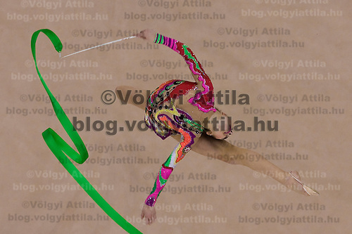 Anan Gurbanova (AZE) performs with the ribbon during the final of the 2nd Garantiqa Rythmic Gymnastics World Cup held in Debrecen, Hungary. Sunday, 07. March 2010. ATTILA VOLGYI