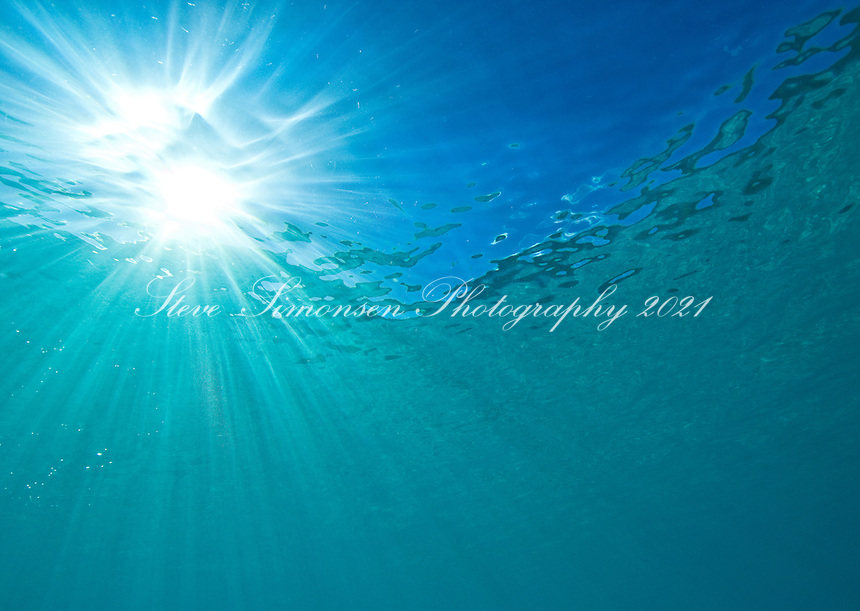 Light rays through the water at .Trunk Bay, St John, Virgin Islands National Park