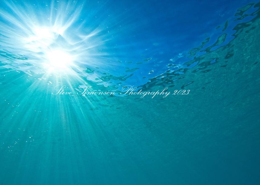 Light rays through the water at .Trunk Bay, St John, Virgin Islands National Park
