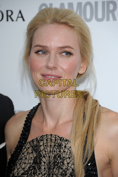Naomi Watts.Women Of The Year 2012 - Glamour Awards, Berkeley Square, London, England..29th May 2012.headshot portrait black brown print.CAP/PL.©Phil Loftus/Capital Pictures.