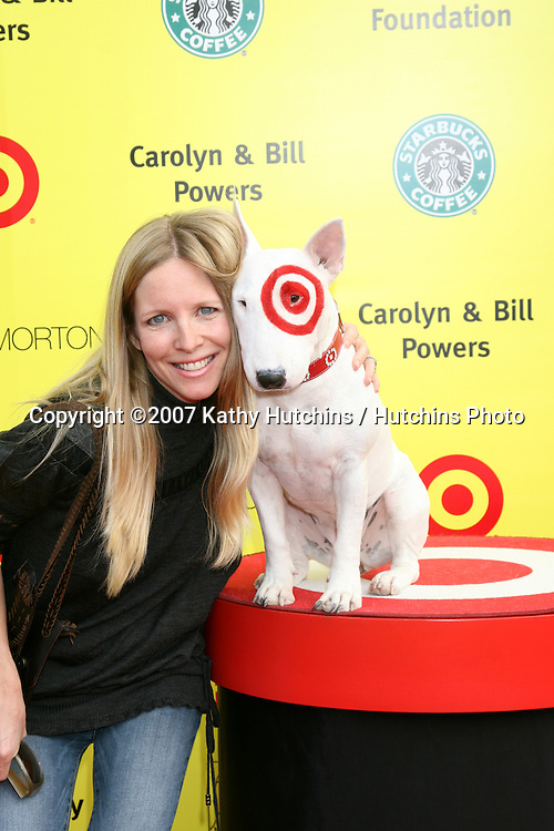 "Lauralee Bell & Bullseye, the Target Dog.PS Arts ""Express Yourself"" Benefit.Barker Hanger.Santa Monica, CA.November 2, 2007.©2007 Kathy Hutchins / Hutchins Photo...               ."