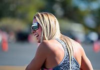 Nov 3, 2019; Las Vegas, NV, USA; NHRA top fuel driver Leah Pritchett during the Dodge Nationals at The Strip at Las Vegas Motor Speedway. Mandatory Credit: Mark J. Rebilas-USA TODAY Sports