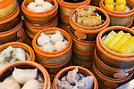 Steamed Dim Sum baskets at a dumpling restaurant in The Old City of Shanghai, China