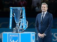 ATP Executive and President Chris Kermode stands next to the ATP World Tour Final Trophy, ATP World Tour Finals 2016, Day Eight, O2 Arena, Peninsula Square, London, United Kingdom, 20th Nov 2016