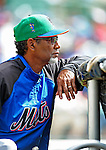 17 March 2009: New York Mets' Manager Jerry Manuel, sporting his St. Patrick's Day cap, watches batting practice prior to a Spring Training game against the Atlanta Braves at Disney's Wide World of Sports in Orlando, Florida. The Braves defeated the Mets 5-1 in the Grapefruit League matchup. Mandatory Photo Credit: Ed Wolfstein Photo