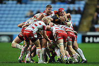 Ross Moriarty of Gloucester Rugby wrestles with James Haskell of Wasps at a maul. Aviva Premiership match, between Wasps and Gloucester Rugby on November 8, 2015 at the Ricoh Arena in Coventry, England. Photo by: Patrick Khachfe / Onside Images