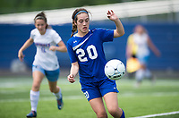 NWA Democrat-Gazette/CHARLIE KAIJO Rogers High School midfielder Grace Carrol (20) drives the ball down the field during the semifinals of the 7A Girls State Soccer Tournament, Saturday, May 12, 2018 at Whitey Smith Stadium at Rogers High School in Rogers. Rogers advanced to the finals when midfielder Skylurr Patrick (3) scored both of Rogers' goals defeating Southside High School, 2-1.