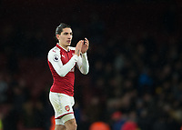 Héctor Bellerín of Arsenal applauds the fans during the Premier League match between Arsenal and Newcastle United at the Emirates Stadium, London, England on 16 December 2017. Photo by Vince  Mignott / PRiME Media Images.