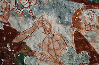 Fresco of the baptism of Christ in the river Jordan by St John the Baptist, detail, in Pancarlik Kilise or Pancarlik Church, early 11th century, in the Pancarlik Valley, Nevsehir province, Cappadocia, Central Anatolia, Turkey. The churches are carved from the soft volcanic tuff created by ash from volcanic eruptions millions of years ago. Early christians came here to flee persecution by the Romans and others settled here under the influence of early saints. This area forms part of the Goreme National Park and the Rock Sites of Cappadocia UNESCO World Heritage Site. Picture by Manuel Cohen