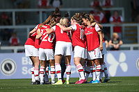 Arsenal players huddle during Arsenal Women vs Tottenham Hotspur Women, Friendly Match Football at Meadow Park on 25th August 2019