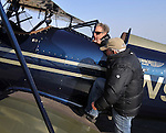 A pair of fresh-off-the-showroom-floor WACO Classic aircraft visited the Sidney Airport on April 6, 2013 to join up for their trip to Sun-n-Fun in Florida.