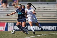 Sanford, FL - Saturday Oct. 14, 2017:  A Courage player protects the ball from an opponent during a US Soccer Girls' Development Academy match between Orlando Pride and NC Courage at Seminole Soccer Complex. The Courage defeated the Pride 3-1.