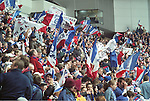 Rangers fans before the last home match of the 96-97 season endure a 2-0 defeat to Motherwell but go on in two days time to clinch nine in a row at Dundee Utd.