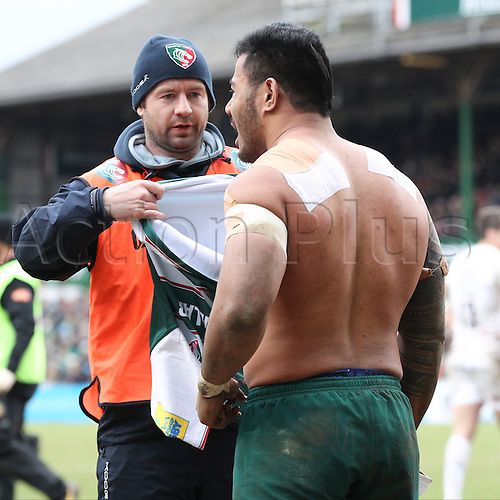 06.03.2016. Welford Road, Leicester, England. Aviva Premiership. Leicester Tigers versus Exeter Chiefs.  Tigers Manu Tuilagi changes his shirt during the second half of the game.