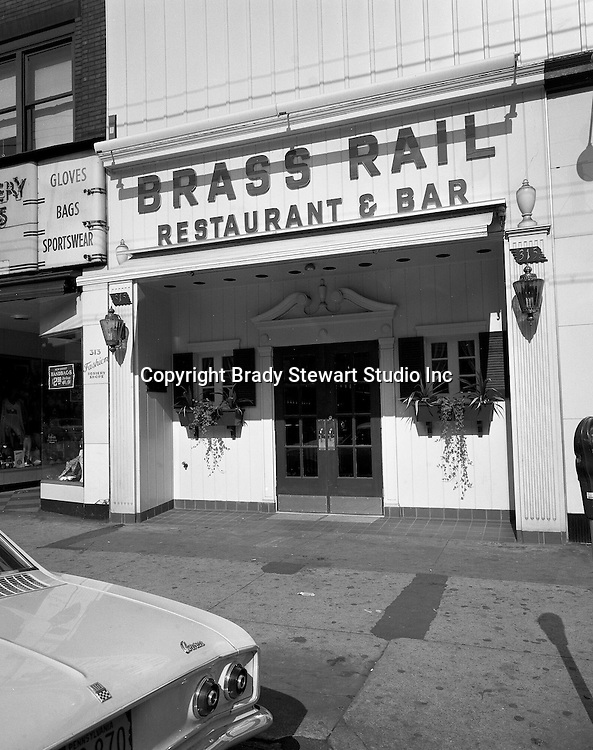 Pittsburgh PA:  The exterior view of the new Brass Rail Restaurant - 1969.  The Brass Restaurants were a staple in Pittsburgh since the 1930's.  Brady Stewart Studio took photographs of the opening of every Brass Rail restaurant since 1930.