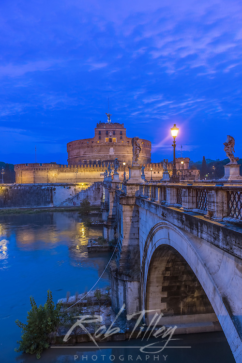Europe, Italy, Rome, Ponte Sant'Angelo at Dawn, Also called St. Peter's Bridge because it was used by pilgrims going to St. Peter's Basilica
