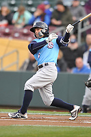 Colorado Springs Sky Sox second baseman Nate Orf (6) swings at a pitch against the Omaha Storm Chasers at Werner Park on April 5, 2018 in Omaha, Nebraska. The Sky Sox won 3-1.  (Dennis Hubbard/Four Seam Images)